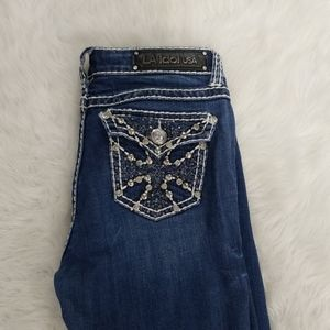 L.A. Idol Jeans Size 7 Embroidered and Bejeweled